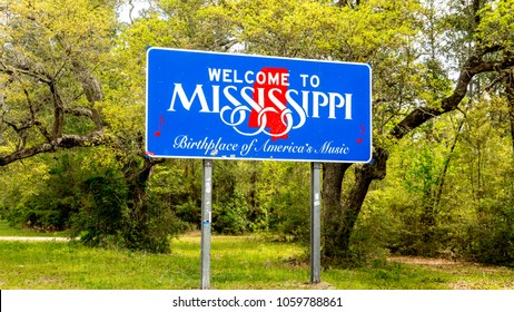 Welcome to Mississippi sign, birthplace of america's music