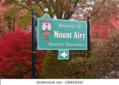 Welcome to Mount Airy sign, North Carolina