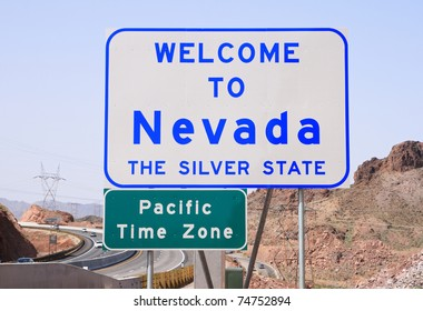 Welcome to Nevada sign on Highway 93 after crossing the Colorado River from Arizona