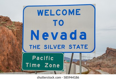 Welcome to Nevada sign on the state's border with Arizona