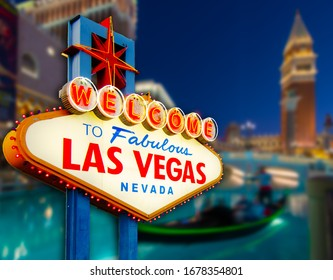 Welcome to Never Sleep city Las Vegas, Nevada Sign with the heart of Las Vegas scene in blur background. (all logo had been removed).