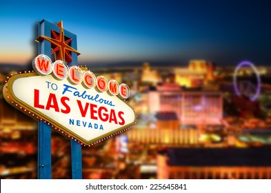 Welcome to Never Sleep city Las Vegas, Nevada Sign with the heart of Las Vegas scene in the background. (all logo had been removed).  - Shutterstock ID 225645841