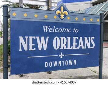 Welcome to New Orleans Downtown sign - NEW ORLEANS, LOUISIANA - APRIL 18, 2016