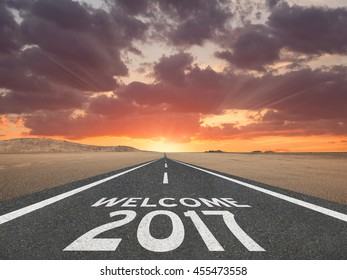Welcome the new year 2017 concept with highway leading into the future