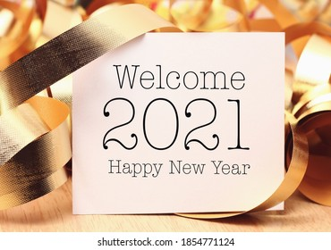Welcome new year 2021 with decoration. We wish you a new year filled with wonder, peace, and meaning.