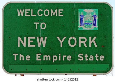 """A """"Welcome to New York"""" sign at the state line."""