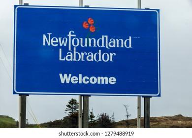 Welcome to Newfoundland sign. St. John's, Newfoundland and Labrador, Canada.