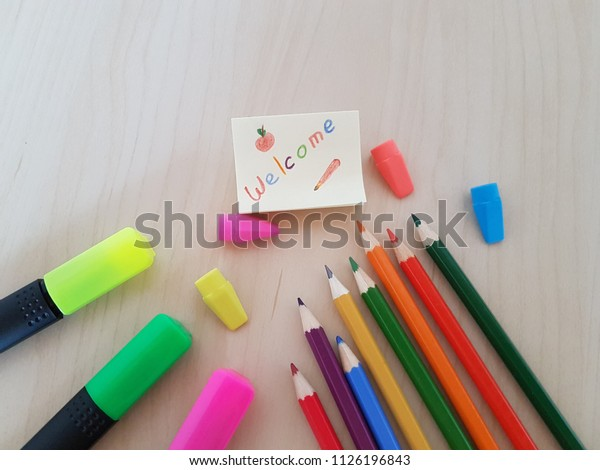 Welcome Note Students School Supplies Teacher Stock Photo