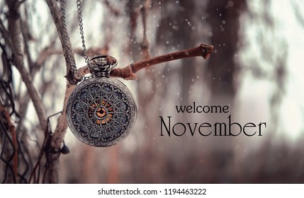 welcome november. the beautiful season fall. antique locket on branch with bokeh background in vintage style.  selective soft focus, toning.