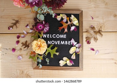 Welcome November, Fall themed photo representing the calendar month of November. With Roses and oak leaves.