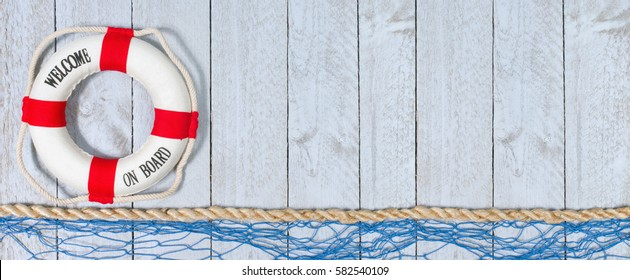 Welcome on Board - lifebuoy with text on horizontal wooden background texture, copy space for individual text