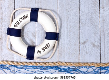 Welcome on Board - lifebuoy with text on vertical wooden background texture, copy space for individual text