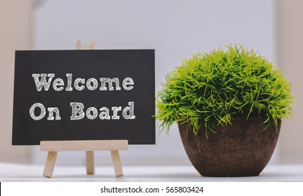 WELCOME ON BOARD written on chalkboard with green plant,conceptual copyspace