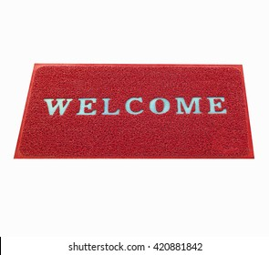 welcome  on red doormat  isolated on white background