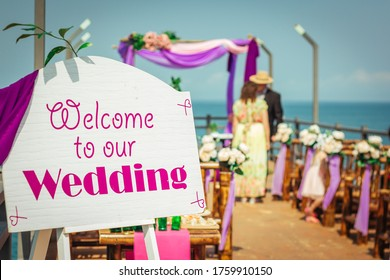 Welcome to our wedding nameplate. Wedding welcome sign.