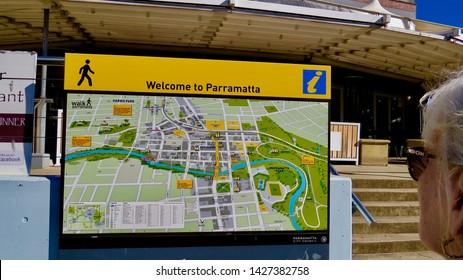 Welcome to Parramatta sign and map, Parramatta Wharf, Parramatta, New South Wales, Australia on 15 June 2019.