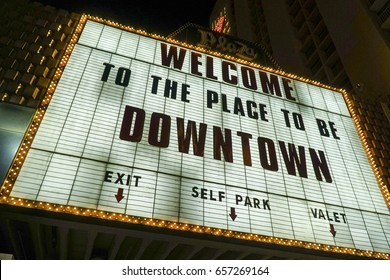 Welcome to the place to be in Downtown Las Vegas - LAS VEGAS / NEVADA - APRIL 23, 2017