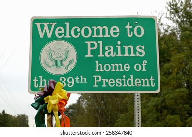"""""""Welcome to Plains"""" sign, the home of the 39th President, Jimmy Carter, Plains, Georgia"""