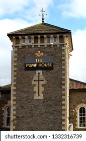 WELCOME TO THE PUMP HOUSE Bristol,England,11.06.2018.Building of The Pump House, situated in a waterside location close to River Avon. This gastropub is housed in a former Victorian pumping station.