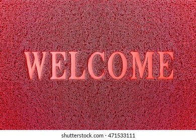 Welcome Red Mat. Welcome Carpet Background. Welcome Red Sign.
