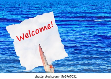 Welcome! -  red text on white torn piece of paper in ��rab claw on  blue sea background,  close up
