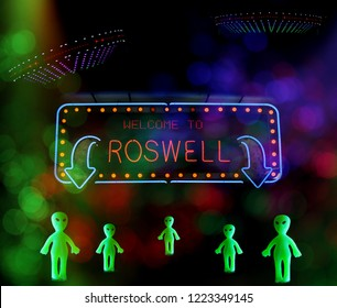 Welcome To Roswell Sign With UFO and Aliens