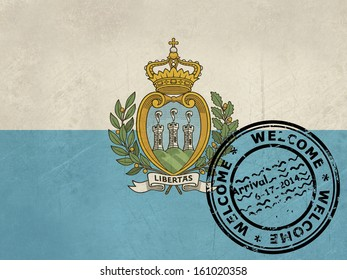 Welcome to San Marino flag with passport stamp