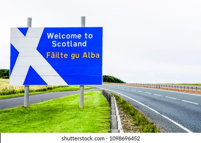 Welcome to Scotland road sign at the Scotland/England border on the A1
