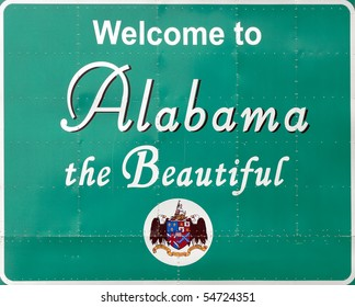 A welcome sign at the Alabama state line.