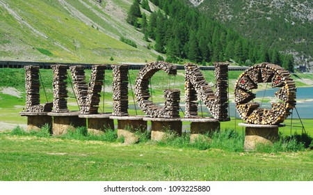 Welcome sign for alpine village Livigno, Lombardy, Italy