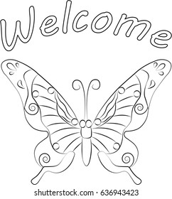 Welcome sign with butterfly.
