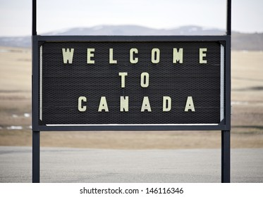 A welcome sign at the Canadian border in Alberta.