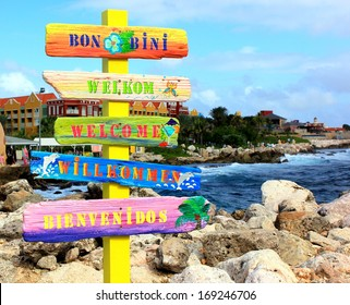 "Welcome sign in Curacao. ""Bon Bini"" means ""Welcome"" in Papiamentu on the Netherlands Antilles or Leeward Islands, Aruba, Curacao and Bonaire."