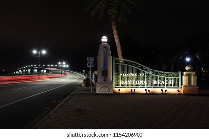 A welcome sign in Daytona Beach, Florida.