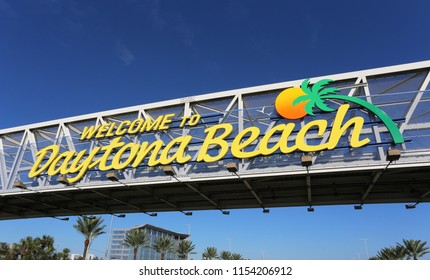 A welcome sign in Daytona Beach, Florida.