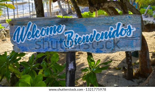 Welcome Sign English Spanish Stock Photo (Edit Now) 1321775978