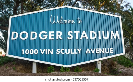 A welcome sign at the entrance to Dodger Stadium in Los Angeles on October 18 2016 : The Dodger Stadium has been home to the Dodgers Major League Baseball team since 1962.For Editorial Use Only