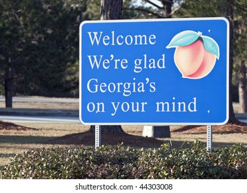A welcome sign at the Georgia state line