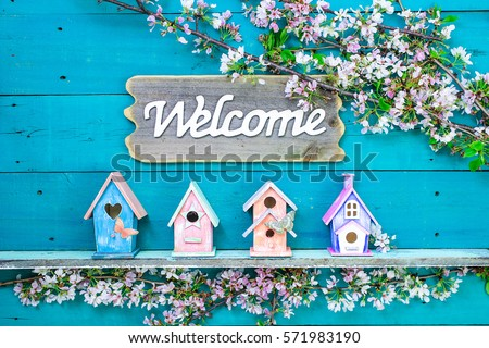 Welcome sign hanging over colorful birdhouses with butterfly on shelf by spring tree flowers on antique rustic teal blue wood background; pink, mint green, purple, orange birdhouses