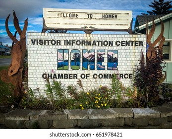 Welcome sign at the Homer, Alaska Chamber of Commerce
