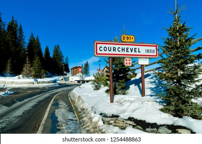 Welcome sign into Courchevel luxury ski resort, Haute savoie ,France
