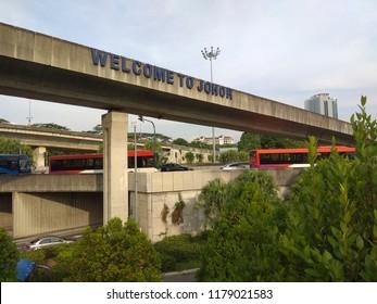 welcome sign johor bahru near ciq on bridge