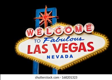 Welcome Sign Las Vegas isolated on black