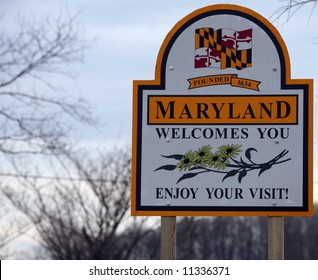 A welcome sign at the Maryland state line.
