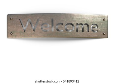 welcome sign metal cuprum plate isolated on white 3d illustration