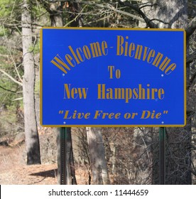 A welcome sign at the New Hampshire state line.