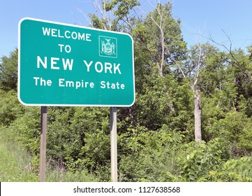 A welcome sign at the New York state line.
