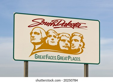 A welcome sign at the South Dakota state line