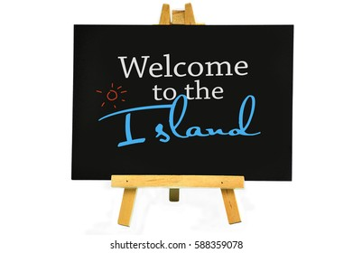 Welcome signage suitable for island or resort