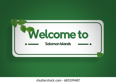 Welcome to Solomon Islands sign travel tourism illustration